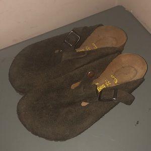 Birkenstock brown suede clogs slip on shoes 35 L 4